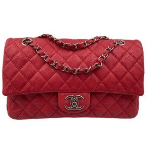 Authentic CHANEL Caviar Red Double Flap Bag